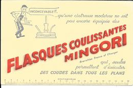 Buvard Ancien Industrie : FLASQUES COULISSANTES MINGORI  Pour Cintreuse Moderne - Ouvrier, Machine, Double Décimètre - Carte Assorbenti