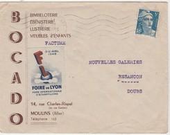 Enveloppe Commerciale 1948 / BOCADO / Bimbeloterie / 03 Moulins Allier / Vignette Foire De Lyon - Maps