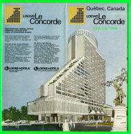 PUBLICITÉ - DÉPLIANTS TOURISTIQUES  - QUÉBEC, LOEWS LE CONCORDE EN 1974 - 8 PAGES - - Dépliants Touristiques