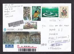 China: Registered Stationery Cover To Aruba, 2012, 4 Extra Stamps, Buddha, Fish, Rare Destination (label Over 2 Stamps) - Briefe U. Dokumente