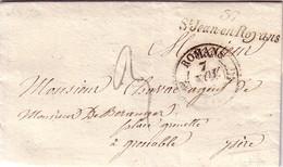 ISERE - 37 ST JEAN-EN-ROYANS - CURSIVE - CACHE T12 ROMAN (25) DU 7 NOVEMBRE 1836 - AVEC TEXTE ET SIGNATURE. - Marcophilie (Lettres)