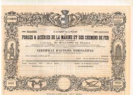 Ancienne Action Uncirculed - Compagnie Des Forges & Aciéries De La Marine Et Des Chemins De Fer -  Titre De 1902 - Déco - Industrie