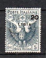 1915 Libia Croce Rossa N. 15 Timbrato Used Sassone 50 € - Libya