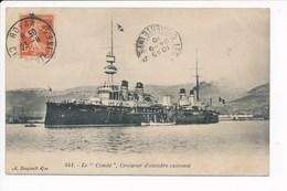 Carte Du Navire De Guerre Le Condé Croiseur Cuirassé ( A. Bougault ) Envoyée Au Garde Chasse à La Coubre Par Les Mathes - Krieg