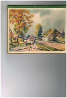 1932 Type Sous-main Feuilles Roses Style Buvard  - Paysage Cheval Ferme Flandres ? - Calendars