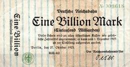 Notgeld Reichsbahn  Berlin  1  Billion  Mark  1923 * Bankfrisch - [ 3] 1918-1933 : Weimar Republic