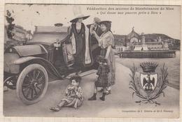 8AK1095 NICE FEDERATION DES OEUVRES DE BIENFAISANCE ANCIENNE VOITURE  2 SCANS - Niza