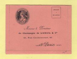Carte Lettre Illustree Privee - Champagne De Lizeuil - Voir Interieur - Vin Raisin Champagne Vigne - 1877-1920: Période Semi Moderne