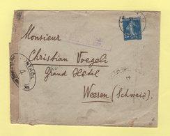 Type Semeuse - Censure Poste Serbes Et Controle Postal Francais - Destination Suisse - 1918 - 1877-1920: Période Semi Moderne