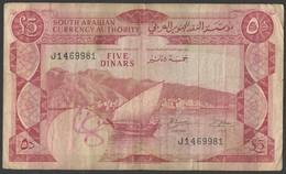 Yemen Democratic Banknote 1965 5 Dinars South Arabian Currency Authority 5 DINAR Bank Note - Yemen