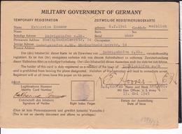 Military Government Of Germany  Zeitweilige Registrierungskarte Ludwigshafen 1945 - Briefe U. Dokumente