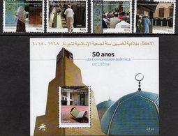 PORTUGAL, 2018, MNH,ISLAM, 50 YEARS OF THE ISLAMIC COMMUNITY IN LISBON, MOSQUES , 4v+S/SHEET - Islam