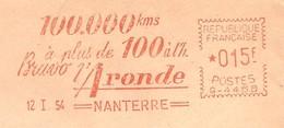 """EMA HAVAS Type G De 1954 Avec Publicité """"100.000 Kms à Plus De 100 à L'h. Bravo L'Aronde"""" - EMA ( Maquina De Huellas A Franquear)"""