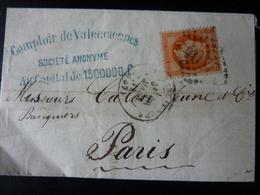 27.05.18_LAC  De Valenciennes Sur N°30 Fond Ligné Et Taches  A Voir!! - Postmark Collection (Covers)