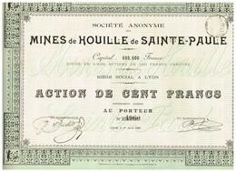 Ancienne Action - Société Anonyme Des Mines De Houille De Sainte-Paule - Titre De 1905 - Mines