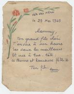 Fêtes De Mères, Lettre Manuscrite D'henri à Sa Mère, 29 Mai 1949, Dessin, Me Morel, Toulouse. - Seasons & Holidays
