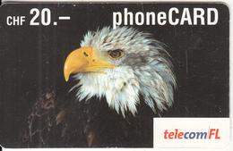 LIECHTENSTEIN - Eagle, Telecom FL Prepaid Card CHF 20, Exp.date 09/05, Used - Eagles & Birds Of Prey