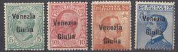 VENEZIA GIULIA, OCCUPAZIONE ITALIANA - 1918 - Lotto 4 Valori Nuovi MH: Unificato 21/24. - 8. WW I Occupation