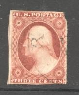 1851  Washington 3 Cents Imperf. Sc 11  Used - Usati