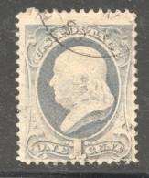 1870  Franklin 1 Cent Pale Ultramarine Sc 145 Used - Usati