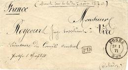 """21/1/71 - Enveloppe De POSEN Pour Vire ( Calvados )  P D Encadré Noir + """" Affranchi Par La Loi Du 7 Août 1870 """" - Poststempel (Briefe)"""