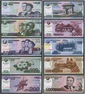 Korea Commemorative 2002 2008 2013 5 10 50 100 200 500 1000 2000 5000won 10pcs UNC - Korea, Noord