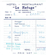 Ancienne Facture De L'Hôtel Restaurant Le Refuge, Germain Bordes, Gavarnie (28/7/1975) - Sports & Tourisme