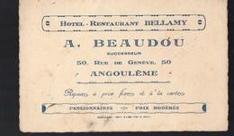 Angoulème (16 Charente) Carte HOTEL RESTAURANT BELLAMY Beaudou Successeur (PPP12722) - Advertising