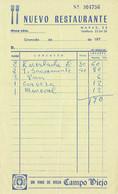 Ancienne Facture Du Restaurant Nuevo Restaurante, Navas, Granada (Grenade, Espagne) (années 1970) - Spain
