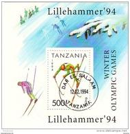 1208 Tanzania 1994 Skiing Sci   XVII Olimpiadi Invernali Lillehammer '94  Sheet Foglietto Perf. - Tanzania (1964-...)