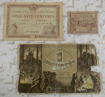 Billets De Nécessité France 10 & 50 Centimes Notgel Allemagne 1 Milliarde Mark. - Monnaies & Billets