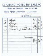 Ancienne Facture Du Grand Hôtel Du Larzac, Raoul Périer, Le Caylar, (vers 1975) - Sports & Tourisme