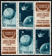 ROM SC #C52a (x 2) MNH PR + LBL 1957 Air - Sputnik 1, 2 CV $12.00 - Unused Stamps