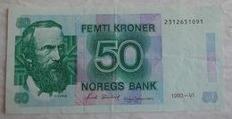 Billet De Banque De Norvège 50 Kroner 1993. - Norvège