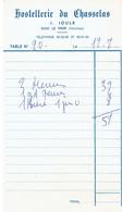 Ancienne Facture De L'Hostellerie Du Chasselas, J. Joulé, Le Thor (Vaucluse) 12/7/1976 - Sports & Tourisme