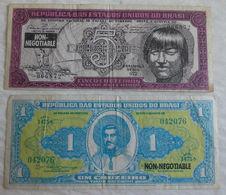 2 Specimen D'opposition Billet De Banque Républica Do Brasi 1 & 5 Cruzeiros Non-négociable - Brésil