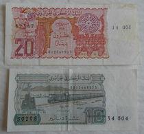 2 Billet De Banque D'Algerie 10 & 20 Dinars 1983. - Algérie