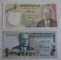2 Billet De Banque De Tunisie 1 & 5 Dinars Tunisia 1973 & 1980 - Tusesië