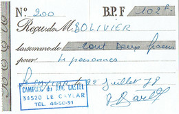 Reçu Du Camping Du Roc Castel; Le Caylar, 22/7/1978 - Sports & Tourisme