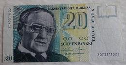 Billet De Banque De Finlande 20 Markkaa 1993 Vaino Linna. - Finlande