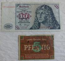 2 Billet De Banque D'Allemagne 5 Pfennig Land Baden 1947 & 10 Mark 1980 - Other