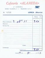 Ancienne Facture De La Cafeteria Alameda, Musso Valiente, Lorca (Murcia), 11/7/1973 - Espagne