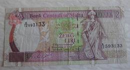 Billet De Banque De Malta 2 Liri 1967 A/12 - Malte