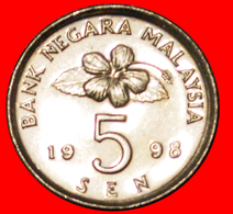 √ SPINNER: MALAYSIA ★ 5 SEN 1998 MINT LUSTER! LOW START ★ NO RESERVE! - Malaysie