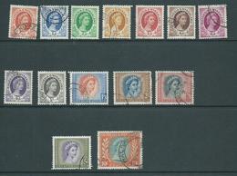 Rhodesia & Nyasaland 1954 QEII Definitive Part Short Set Of 14 To 10 Shillings FU , 2/- Creases - Rhodesia & Nyasaland (1954-1963)