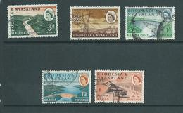 Rhodesia & Nyasaland 1960 Kariba Dam Short Set Of 5 To 2/6 FU , 1/3 A Few Short Perfs - Rhodesia & Nyasaland (1954-1963)