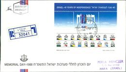 Israel 1988, 40 Jahre Unabhängigkeit, Memorial Day, Block 36, Sheet (4-161) - FDC