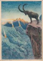 Carte De La Fête Nationale 1933 - Le Bouquetin - Cote 60.- - Schweiz