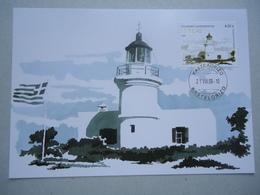 GREECE MAXIMUM CARDS LIGHTHOUSES KASTELORIZO FACE PRICE 4.20 - Lighthouses