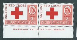 Rhodesia & Nyasaland 1963 Red Cross 3d Harrison Imprint Pair MNH - Rhodesia & Nyasaland (1954-1963)